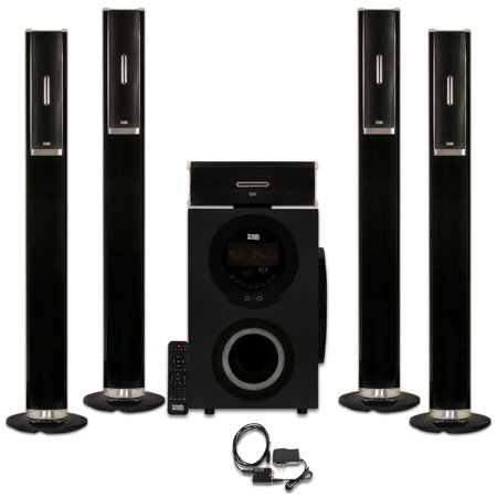 Acoustic Audio AAT3002 Tower 5.1 Home Theater Bluetooth Speaker System with Optical Input