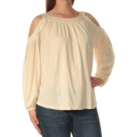 Ralph Lauren Womens Ivory Cold Shoulder Long Sleeve Jewel Neck Top  Size: M