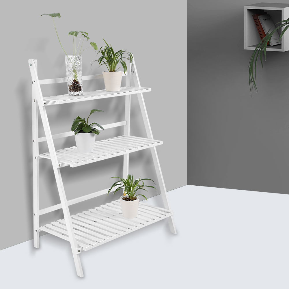 3-Tier Plant Stand Outdoor Bamboo Flower Pot Shelf Stand Folding Display Rack Garden Yard