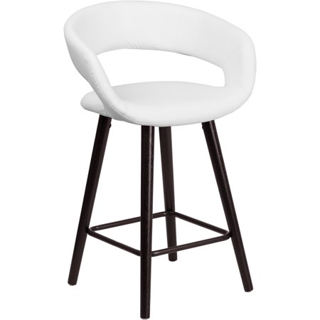 Flash Furniture Brynn Series 24'' High Contemporary White Vinyl Counter Height Stool with Cappuccino Wood Frame [CH-152561-WH-VY-GG] Set Of 2