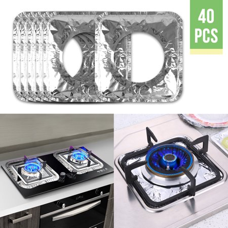 40pcs Aluminum Foil Square Gas Top Burner Disposable Bib Liners Stove