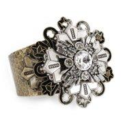 Sweet Romance  Art Deco Geometric Star Silver Cuff Bracelet