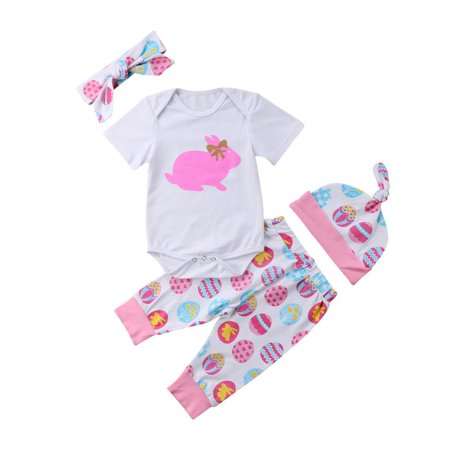 4pcs Newborn Baby Girl Easter Bunny Clothes Romper Bodysuit Leggings Outfit Set