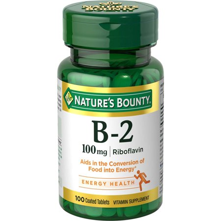 Nature's Bounty B-2 Riboflavin, 100mg Coated Tablets,