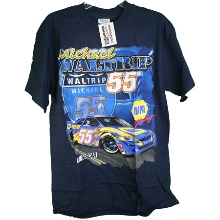 Checkered Flag Napa Auto Parts Michael Waltrip  55 Double Sided Tee Shirt Large  Officially Licensed Double Sided Tee By Nascar
