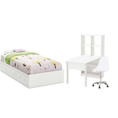 Astonishing 3 Piece Bedroom Set With Twin Storage Bed Task Chair And Work Table In White Creativecarmelina Interior Chair Design Creativecarmelinacom