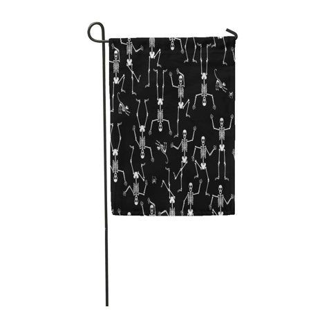 SIDONKU Pattern Dancing Skeletons Black Bones Cat Fun Funny Halloween Garden Flag Decorative Flag House Banner 28x40 inch