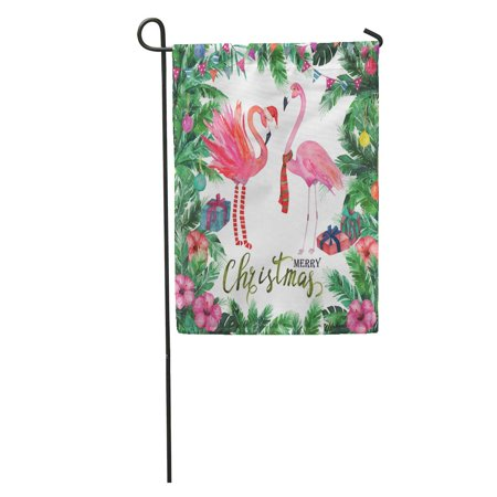 LADDKE Green Watercolour Christmas Tropical Watercolor Palm Tree Flamingo Red Aquarelle Garden Flag Decorative Flag House Banner 12x18 inch ()