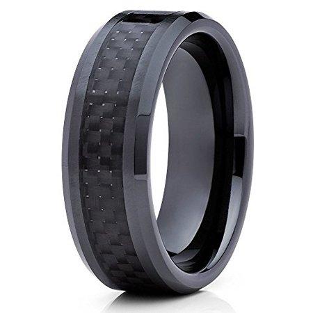 8mm Tungsten Wedding Band Black Tungsten Ring Carbon Fiber Tungsten Carbide Men Women Comfort Fit