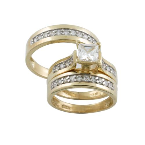 10k Gold Cubic Zirconia Matching His and Hers Ring Set Womens 7, Mens 10