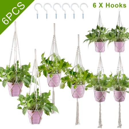 Image of TSV Macrame Plant Hangers with 3 Hooks, 3 Different Pack(55in /41in /31in Length), Indoor Outdoor Hanging Planter Basket, Hanging Plant Holders, Decorative Macrame Hangers, For Housewarming, Garden
