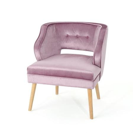 Michaela Mid Century Velvet Accent Chair Light Lavender