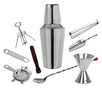 9 Piece Set Stainless Steel Cocktail Martini Shaker Bar Set (1) by Winco