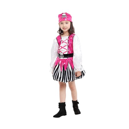 Girls' Pink Pirate Costume Set with Dress, Hat, Vest, Belt, XL](Pirate Dress Costume)
