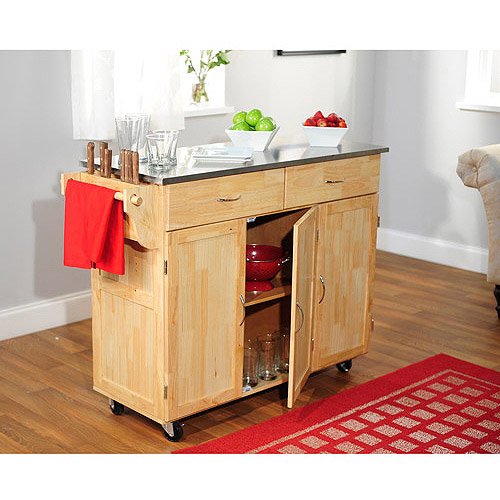 Urban Metal Kitchen Cart: Extra Large Kitchen Cart With Stainless Steel, Natural
