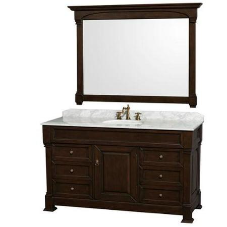 Wyndham Collection Andover 60-inch Dark Cherry UM Round Sink 56-inch Mirror Single Bathroom Vanity 60