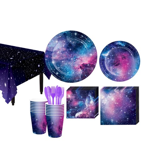 Plates And Cups (Galaxy Tableware Kit and Supplies for 16 Guests, Includes Plates, Cups, and)