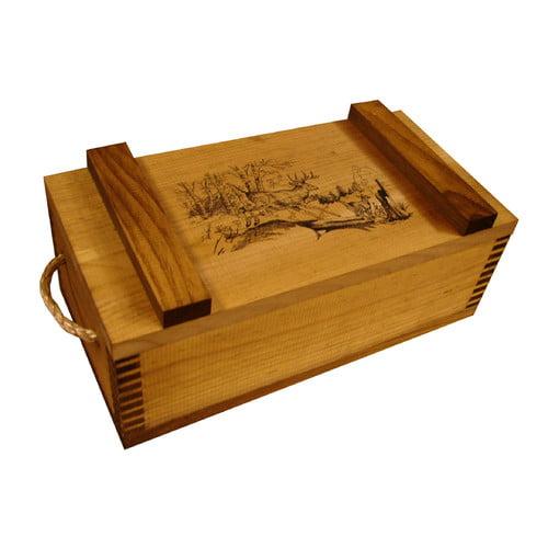 Evans Sports Wooden Crate With Rope Handles, Running Deer Print