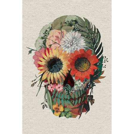 Marmont Hill Inc. 'Floral Skull Face' Painting Print on Wrapped Canvas - Multi-color - Skull Face Painting Ideas