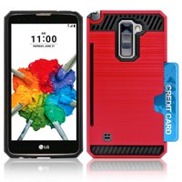 LG Stylo 2 Plus / MS550 Slim PC Metal Brushed Protective Credit Card Slot Red