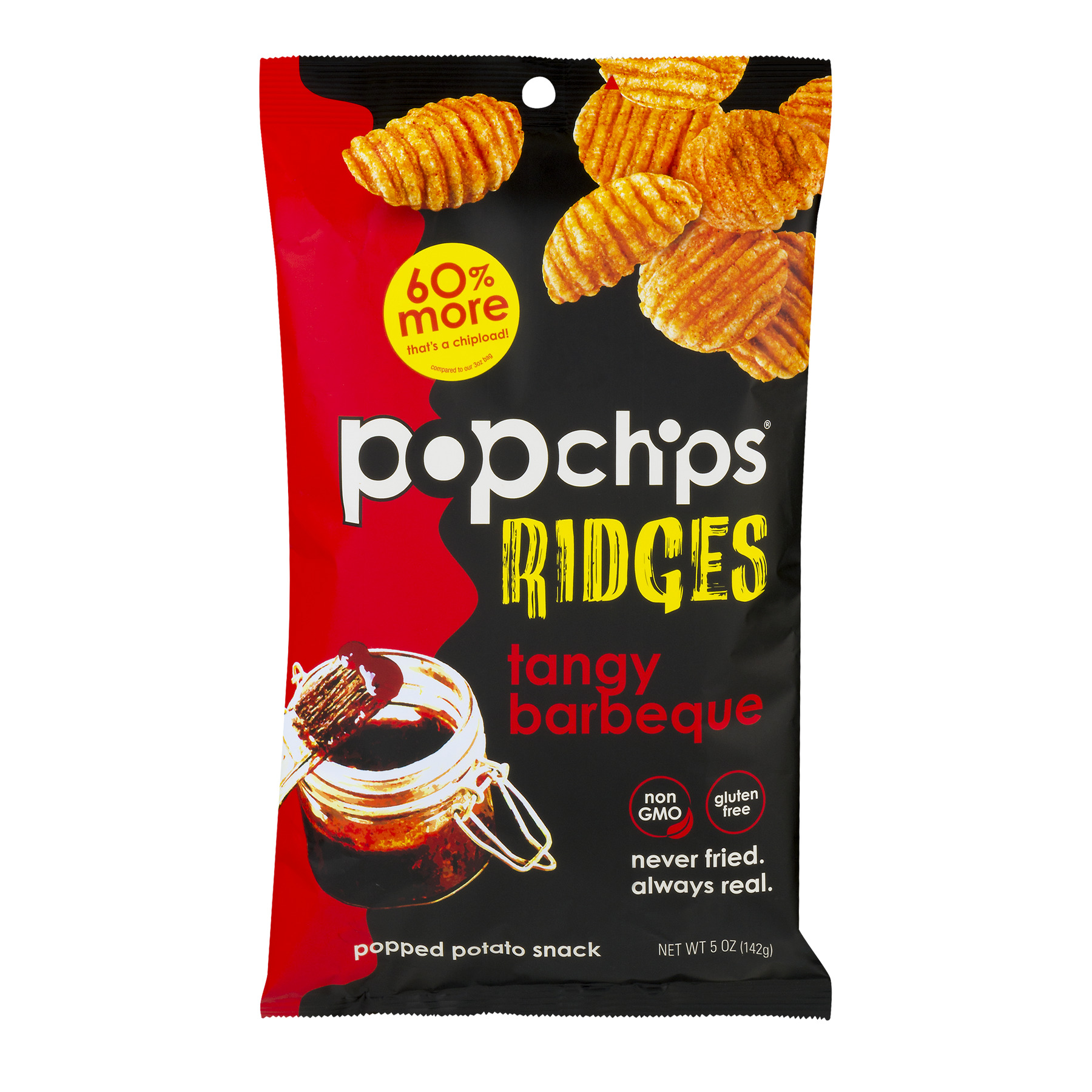 Popchips Ridges Popped Potato Snack Tangy Barbeque, 5.0 OZ
