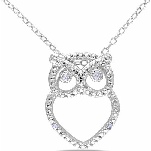 """Miabella Diamond Accent Sterling Silver Owl Pendant, 18"""""""