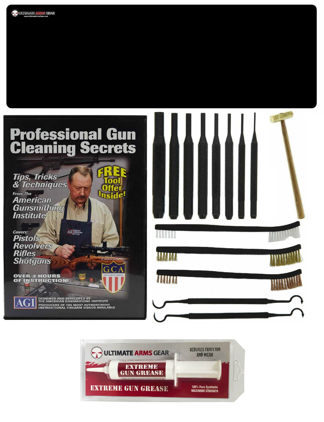 AGI DVD Pro Gun Cleaning Course Remington Model 700, Nylon 66, 600 Magnum Rifle + Ultimate Arms Gear Gunsmith Gun Mat +... by