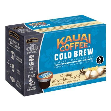 Kauai Cold Brew Coffee Pods, Vanilla Macadamia Nut, 6 Count ()