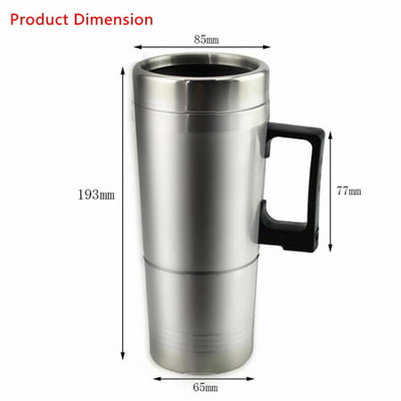 12V 304 Stainless Steel and Food Grade Material Car Stainless Steel Cigarette Lighter Heating Kettle Mug Electric Travel Thermoses Water Coffee Cup  - image 12 of 13