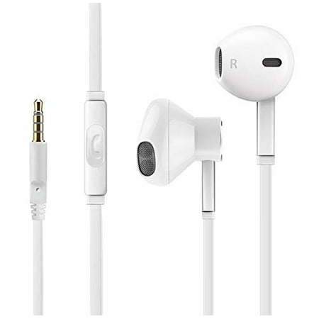 [2 Pack] Earphones with Microphone Premium Earbuds Stereo Headphones and Noise Isolating Headset for Apple iPhone iPod iPad Samsung Galaxy LG HTC (White) Ear Isolating Headphones