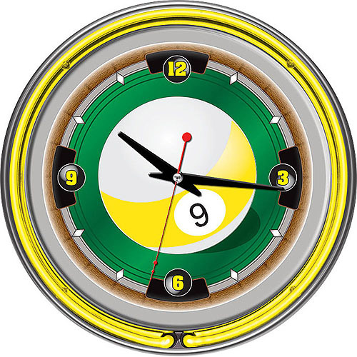 "Rack'em 9-Ball 14"" Neon Wall Clock"