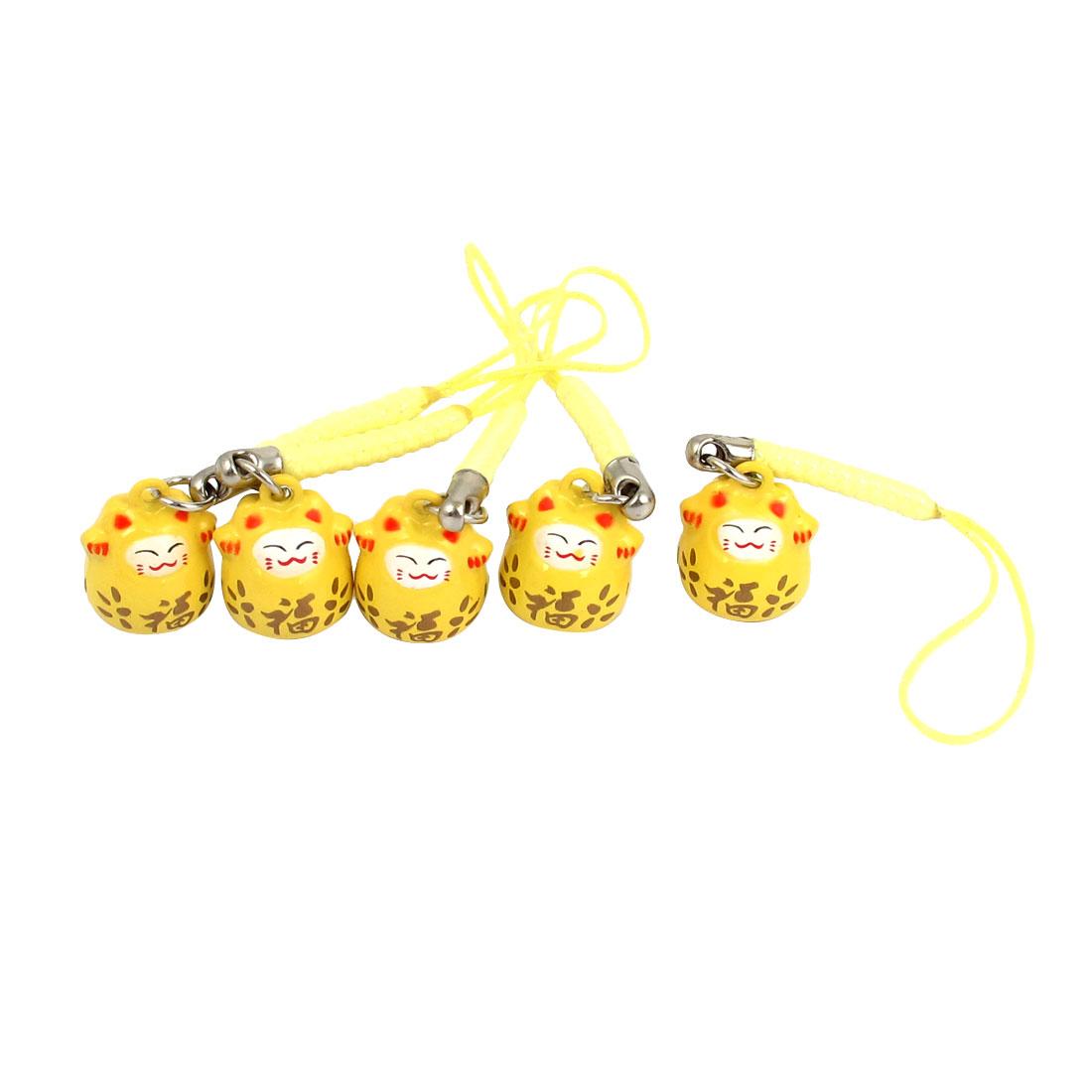 Maneki Neko Cat Japanese Lucky Charm Ring Bell Hanging Strap Yellow 5 Pcs