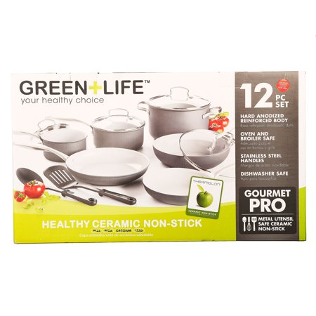 GreenLife Ceramic Non-Stick Cookware Set, 12 Piece