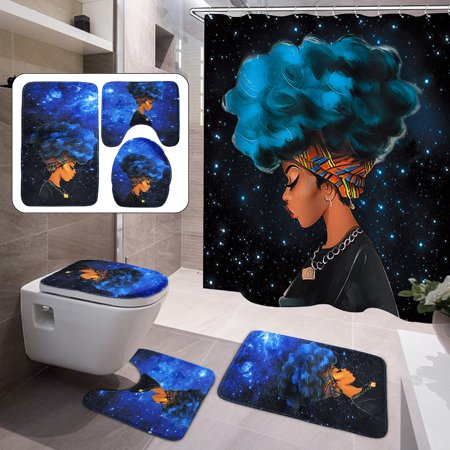 4PCs Waterproof Shower Curtain Set African Girl with 10 Hooks +Non-Slip Pedestal Rug + Lid Toilet Cover + Bathroom Bath Mat Doormat Set for Home Kitchen Decor Christmas Gift ()