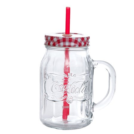 Straw Jar (Coca-Cola Country Classic 20 oz Mason Jar W/Lid & Straw - Clear - Embossed Glass -)