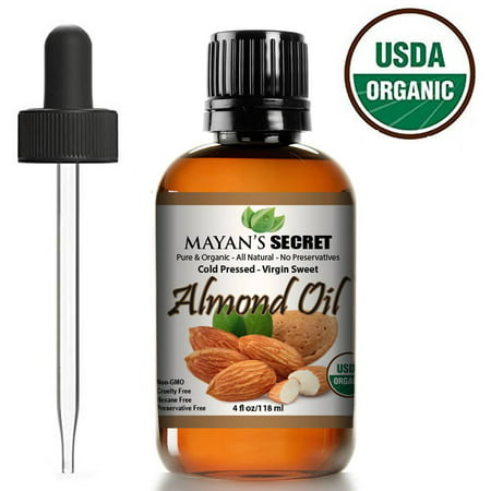 Unrefined Sweet Almond Oil |USDA Certified Organic | Cold Pressed | Hexane Free | Natural Moisturizer |Great For Hair, Skin & Nails | Carrier Oil | Great To Dilute Essential