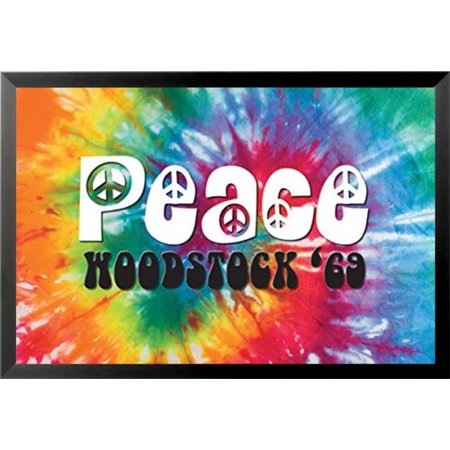 Buy Art For Less Decorative Sign 'Woodstock - Peace 69 Poster' Framed Graphic Art