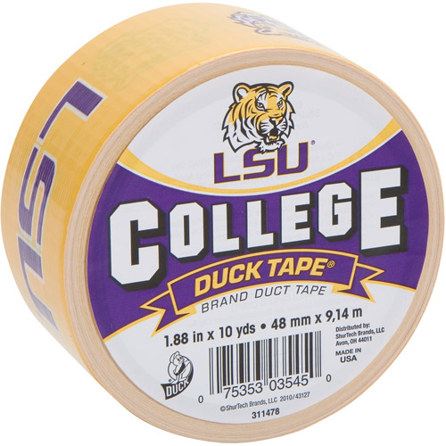"Duck Brand Duct Tape, College Logo Duck Tape, 1.88"" x 10 yard, LSU Tigers"