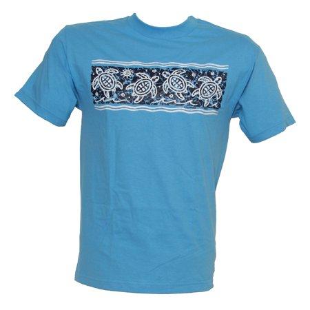 Tropical Print Skirt - Men's Tropical Turtle Print Cotton T Shirt, Light Blue