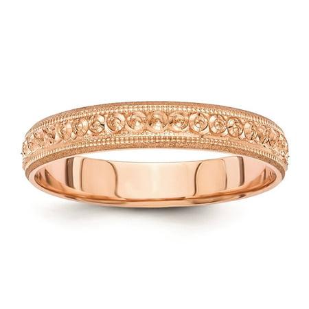 14K Rose Gold Polished 3mm Floral Design Etched Wedding Band Ring Size 8.5