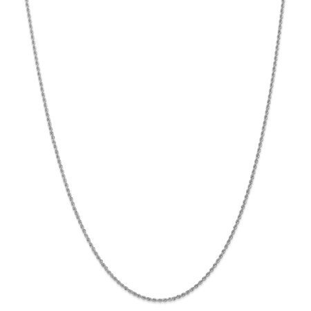 14k White Gold 1.5mm Link Rope Chain Necklace 30 Inch Pendant Charm Fine Jewelry For Women Valentines Day Gifts For Her - image 9 de 9