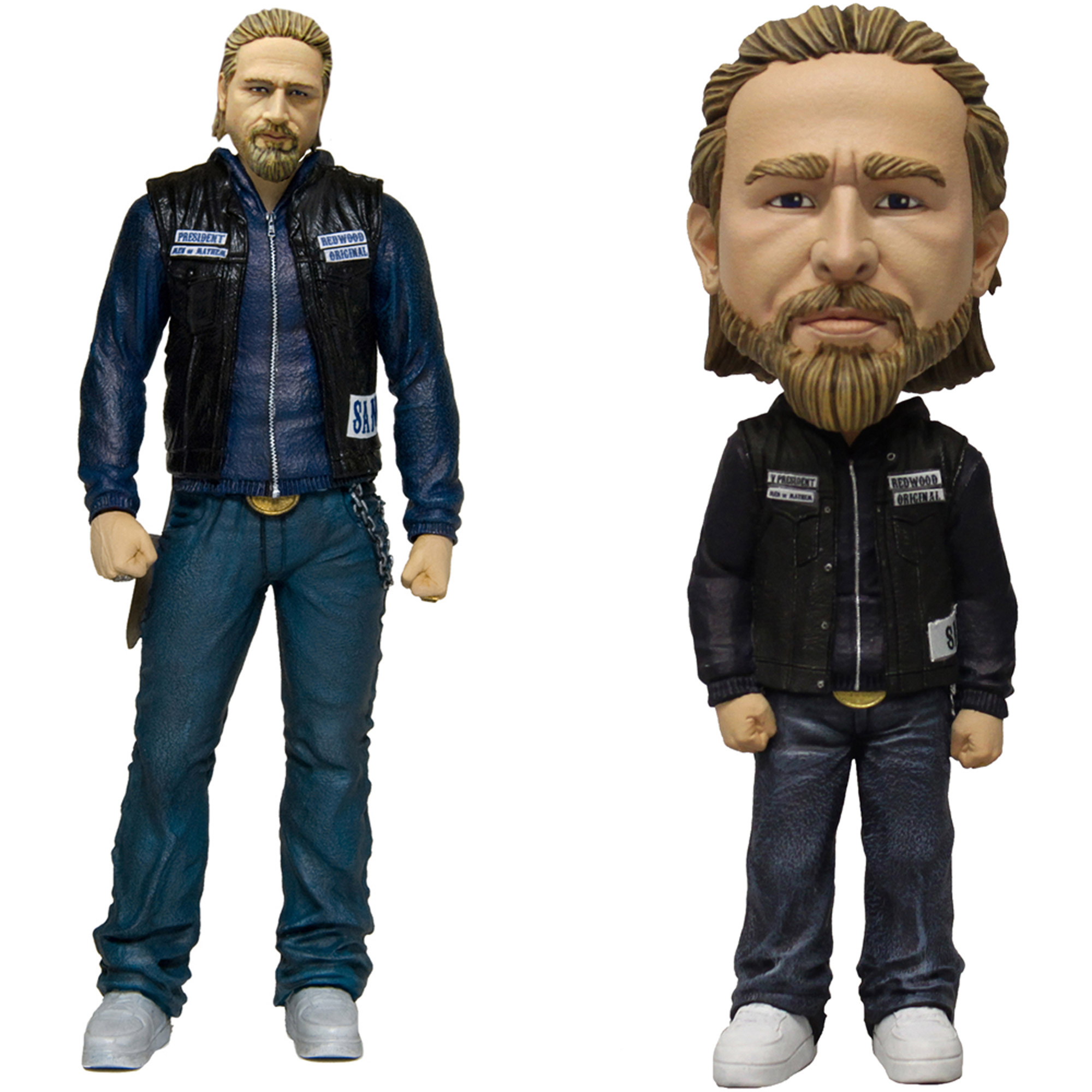"Mezco Toys Sons of Anarchy: Jax Action Figure and Jax 6"" Bobblehead Bundle"
