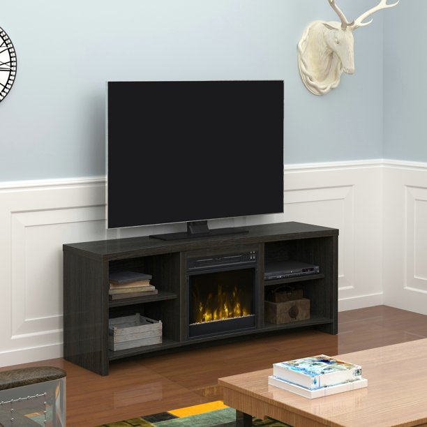 Seasons Glen Black Walnut Fireplace TV Stand for TVs up to 65""