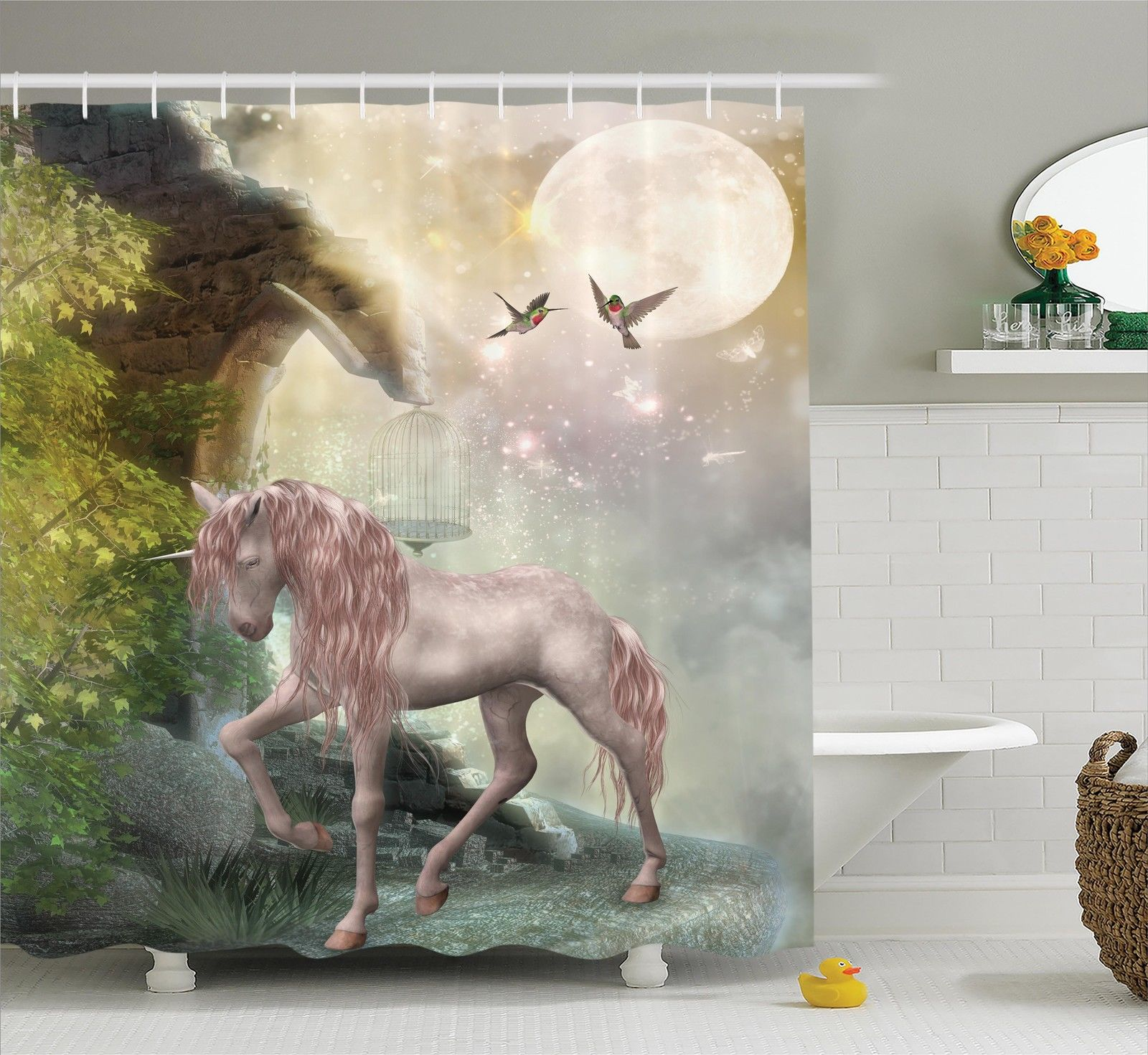 Hummingbirds Decorations  Last Unicorn Golden Leaves Birds Twinkling Stars Moon Mystic Fantasy Fairytale, Bathroom Accessories, 69W X 84L Inches Extra Long, By Ambesonne