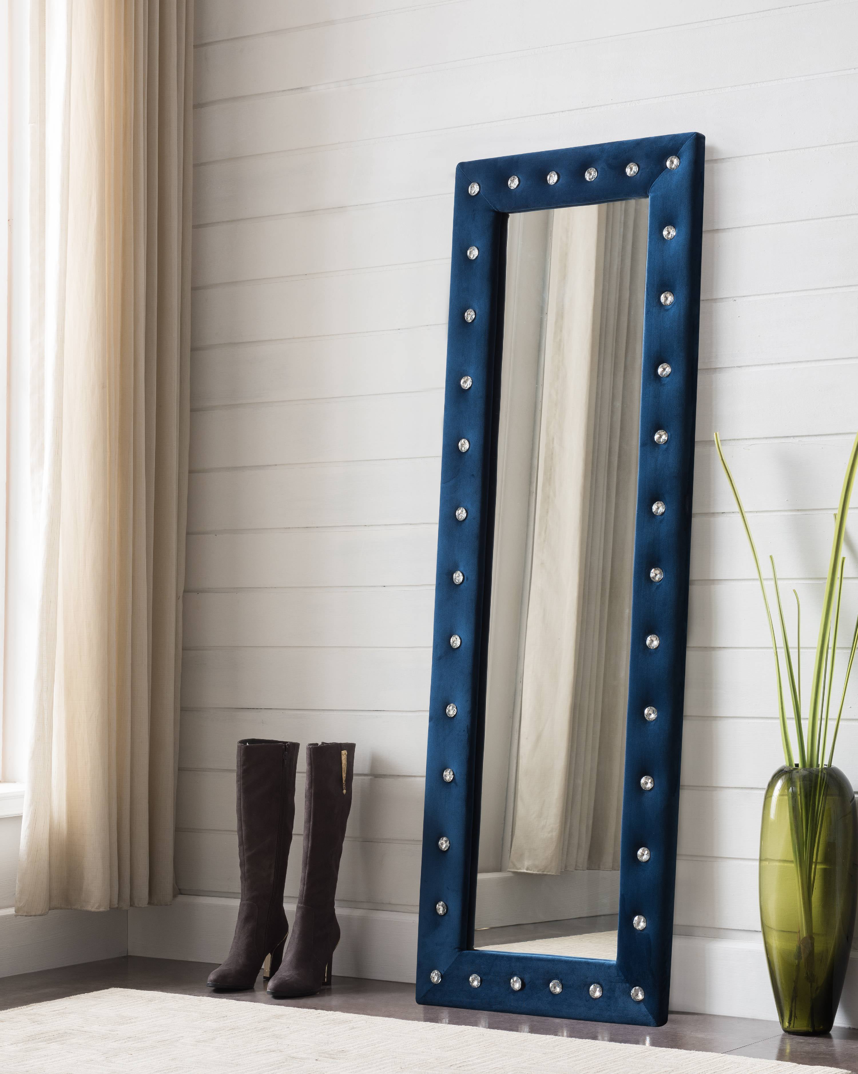 Jane White Upholstered Tufted Faux Leather Transitional Floor Standing Mirror (Crystal... by Pilaster Designs