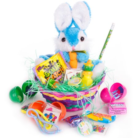 Carrot Bunny Plush Toy 26pc Filled Easter Gift Basket Kit, Treats More, 3 Colors (Pre Made Easter Baskets)