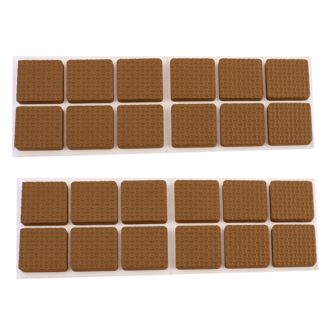 Unique Bargains 24 Pcs EVA Square 30mm x 30mm Self-adhesive Chair Foot Cover Table Furniture Leg Protector Brown