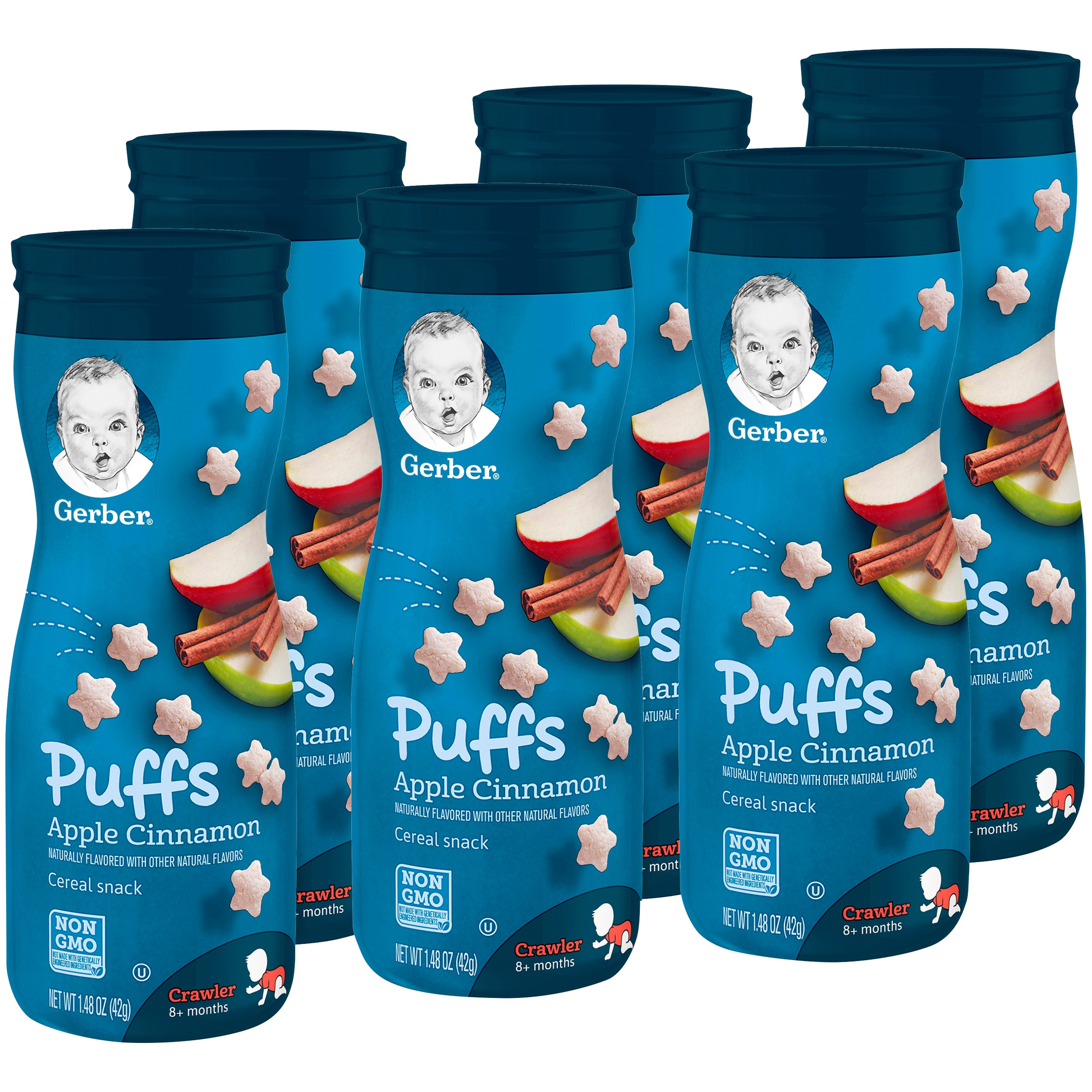Gerber Graduates Puffs, Apple Cinnamon, 1.48 oz (Pack of 6)