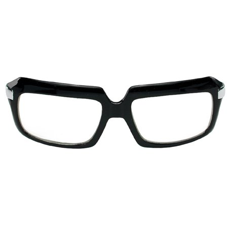 Black Glasses 80's Scratcher (Clear Lens) Adult Halloween Accessory
