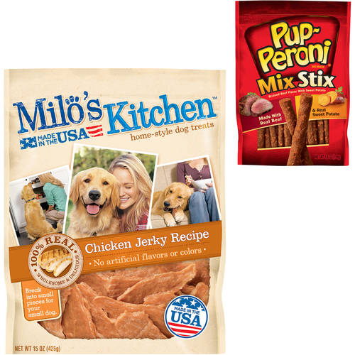 Milo's Kitchen Chicken Jerky Strips Treats and Pup-Peroni Mix Stix Braised Beef with Sweet Potato Dog Snack Value Bundle